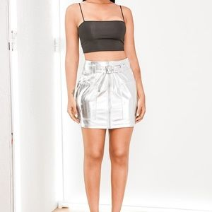 BRAND NEW Holographic Zip-Front Skirt (Shein)